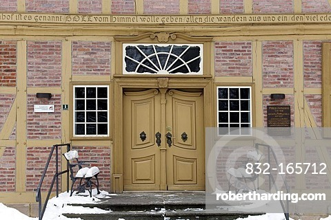 Entrance to the Lindenhof, origin of the Protestant Neinstedter Anstalten foundation, Neinstedt, Northern Harz, Saxony-Anhalt, Germany, Europe
