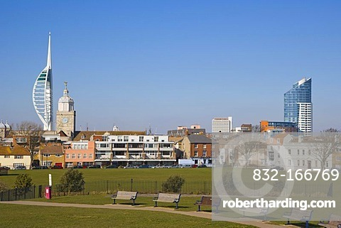 Spires of Portsmouth Cathedral, The Number One Tower or Lipstick, Spinnaker Tower and Governor's Garden from King's Bastion, Old Portsmouth, Hampshire, England, United Kingdom, Europe