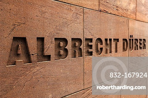 Relief lettering with the artist's name, Albrecht Duerer, New Museum, Luitpoldstrasse 5, Nuremberg, Middle Franconia, Bavaria, Germany, Europe