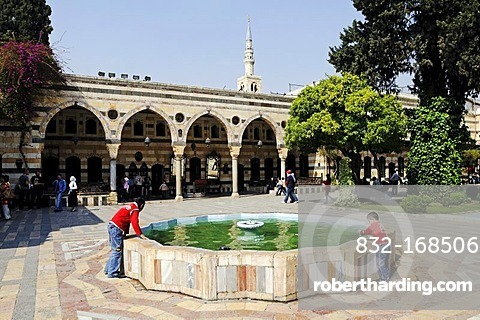 Fountain in the courtyard of the Azm Palace, Azem, Quasr al-Azm, Ottoman ethnographic museum, historic centre of Damascus, Syria, Asia