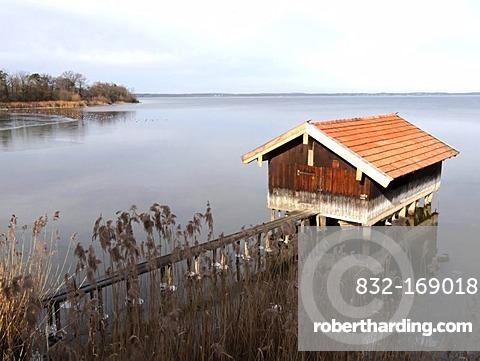 Boat shed on Lake Chiemsee, Chiemgau, Upper Bavaria, Germany, Europe