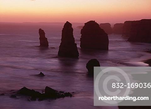 Rock stacks at coastline, dusk, Great Ocean Road, Victoria, Australia