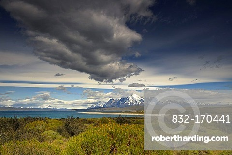 Torres del Paine Massif, dramatic sky, Patagonia, Chile, South America