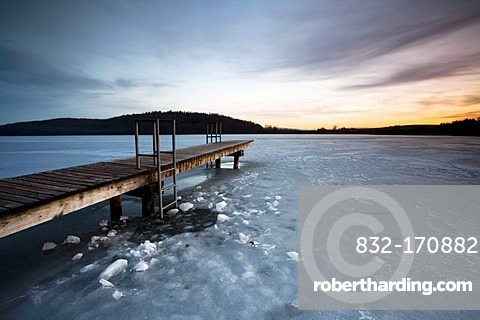 Jetty on the icy Mindelsee near Lake Constance at Radolfzell, Germany, Europe