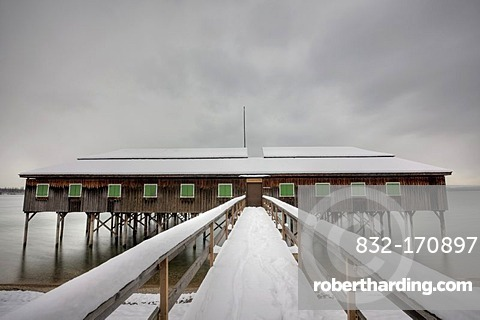 Bath house in winter at Lake Constance in Bregenz, Austria, Europe