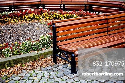 Bench in the district of Altkoetzschenbroda, Radebeul, Saxony, Germany, Europe