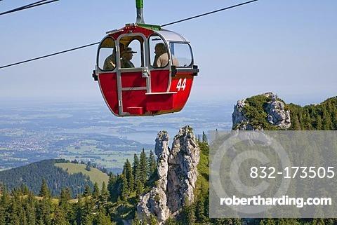 Gondola of the Kampenwandbahn cable car, Mt. Kampenwand, view to Lake Chiemsee, Chiemgau, Bavaria, Germany, Europe