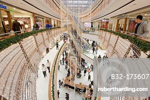 Stilwerk shopping centre in Koenigsbau, Christmas decorations, people, shops, Stuttgart, Baden-Wuerttemberg, Germany, Europe