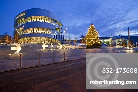 Mercedes-Benz Museum in the evening, lights, Christmas time, Christmas tree, winter, modern architecture, Daimler, Stuttgart, Baden-Wuerttemberg, Germany, Europe