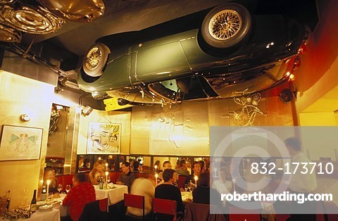 Interior shot of the Pop restaurant, historical monument, Austin Healey car on the ceiling, guests, Heidelberg, Baden-Wuerttemberg, Germany, Europe