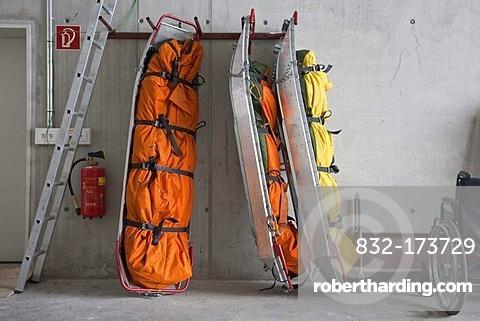 Rescue sledges and wheelchair at the mountain rescue service, on Mt Fellhorn, Oberstdorf, Allgaeu Alps, Allgaeu, Bavaria, Germany, Europe