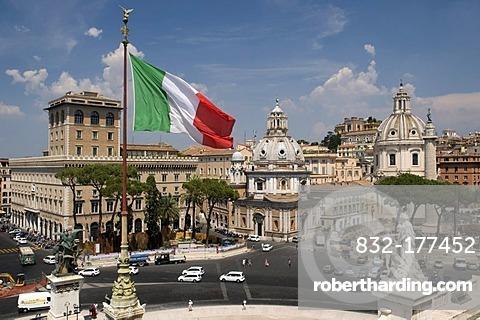 Piazza Campidoglio square with the Church of Santa Maria Di Loreto and Church Santissimo Nome Di Maria, Church of the Most Holy Name of Mary, Rome, Italy, Europe