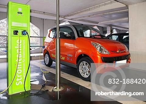 Charging station for electrical cars of a rental car company in a public garage in Dusseldorf, North Rhine-Westphalia, Germany, Europe