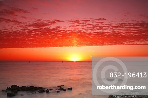 Sunrise at the Wadden Sea at high water, Texel, Holland, Netherlands, Europe