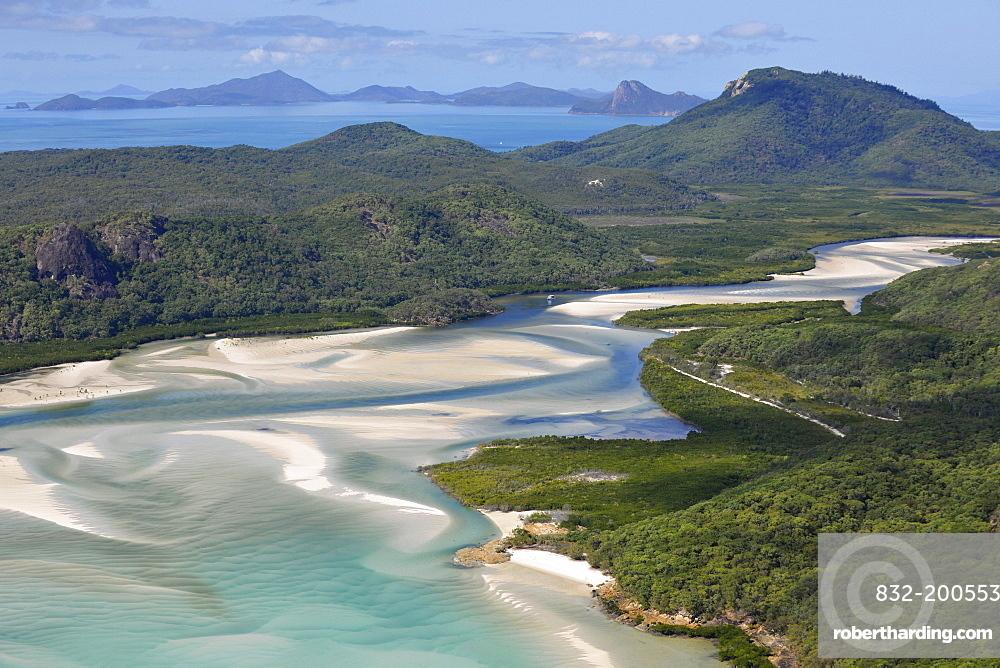 Aerial view of Whitehaven Beach, Whitsunday Island, right Hook Island, Whitsunday Islands National Park, Queensland, Australia