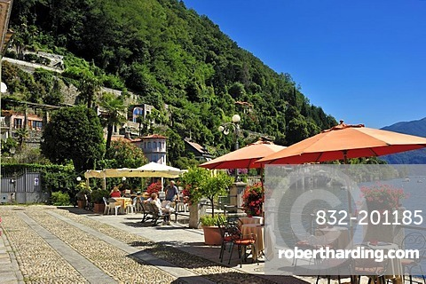 Promenade with restaurant terraces, Lake Maggiore, Cannero Riviera, Piedmont, Italy, Europe