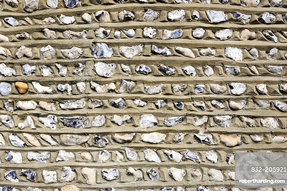 Flint as a building material for the traditional walls and facades in Southern England, England, UK, Europe