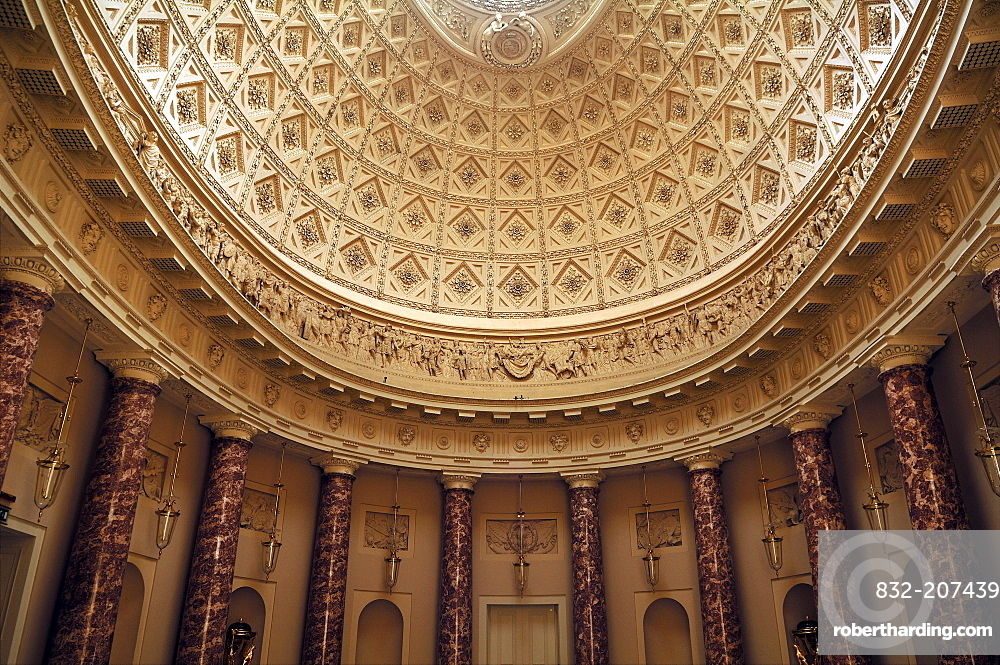 Detail of the ornamental cupola in the reception hall of Stowe School, private school since 1923, architecture from 1770, Classicism, Stowe, Buckingham, Buckinghamshire, England, United Kingdom, Europe