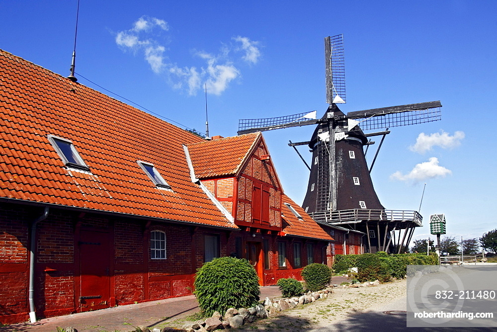Old windmill, Muehlenmuseum mill museum in Lemkenhafen, Fehmarn island, Ostholstein district, Schleswig-Holstein, Germany