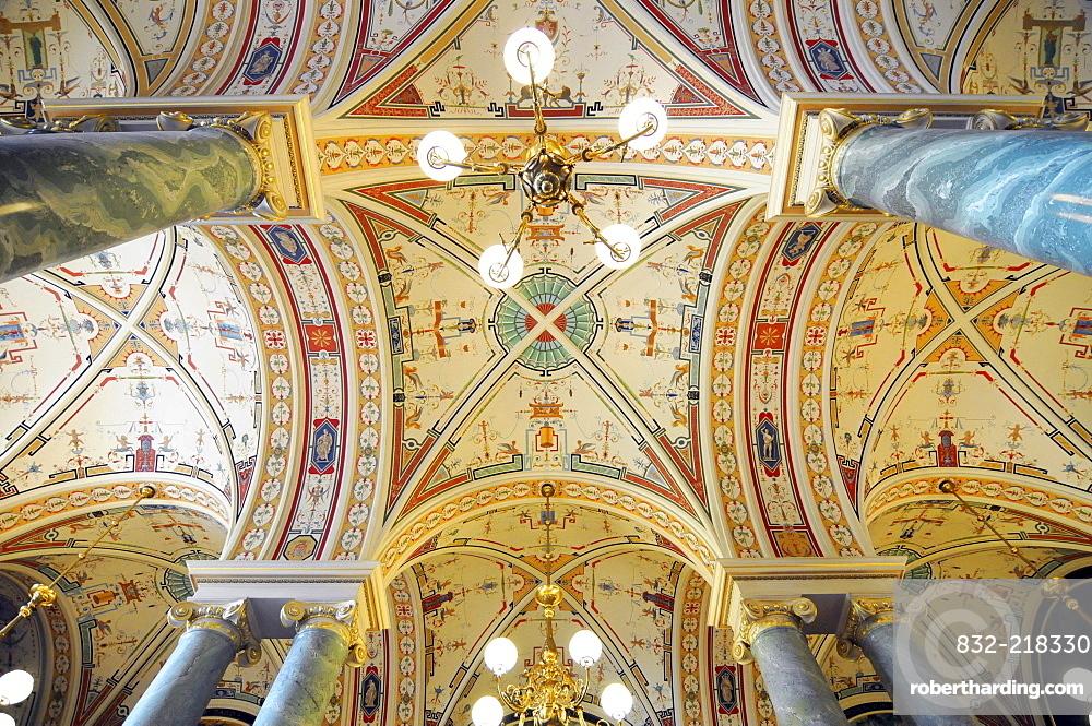 Ceiling design, interior architecture, Semperoper opera house, Dresden, Saxony, Germany, Europe