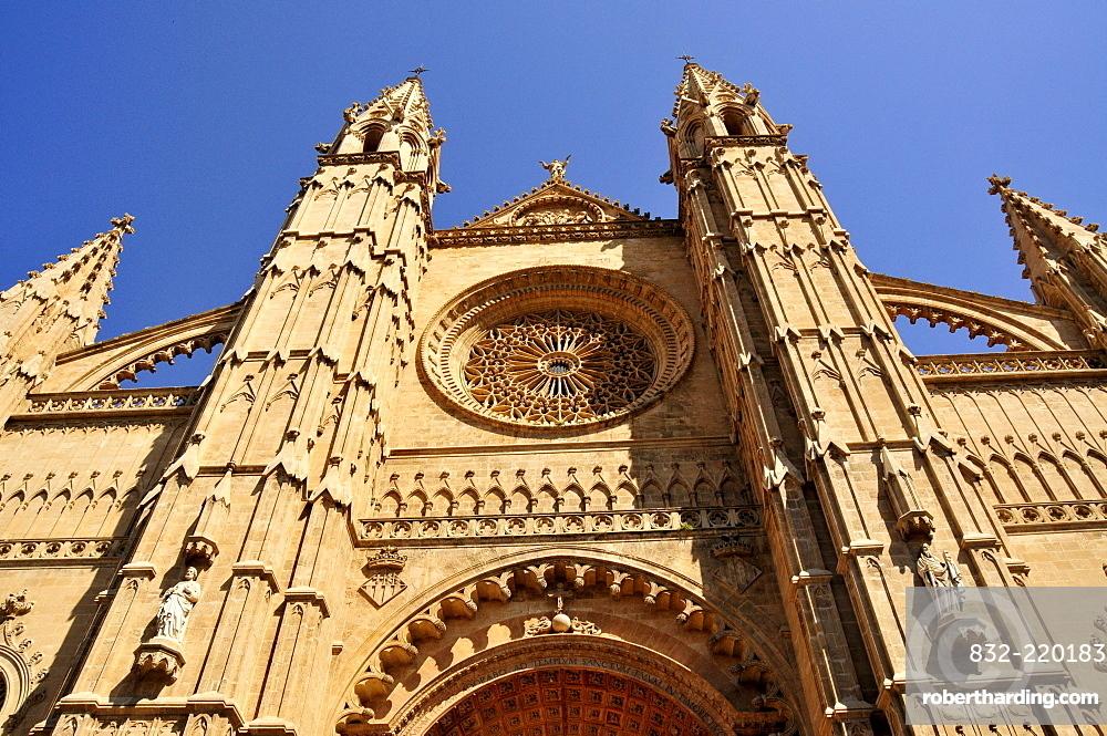 Gothic La Seu Cathedral, Palma de Majorca, Majorca, Balearic Islands, Spain, Europe