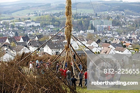 Traditional Easter fire on 7 hills around Attendorn, Sauerland, North Rhine-Westphalia, Germany, Europe