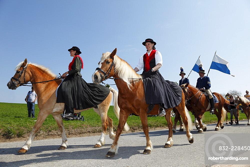 Georgiritt, George's Ride, Easter Monday procession, Traunstein, Chiemgau, Upper Bavaria, Bavaria, Germany, Europe