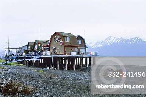 Houses on stilts at the Homer Spit, Homer, Halibut-Fishing Capital of the World, Kachemak Bay, Alaska