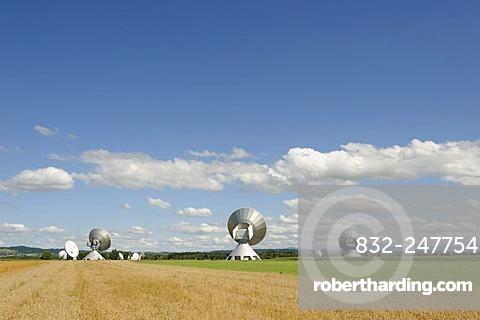 Earth station antennas, radio telescope, near Raisting, Upper Bavaria, Bavaria, Germany, Europe