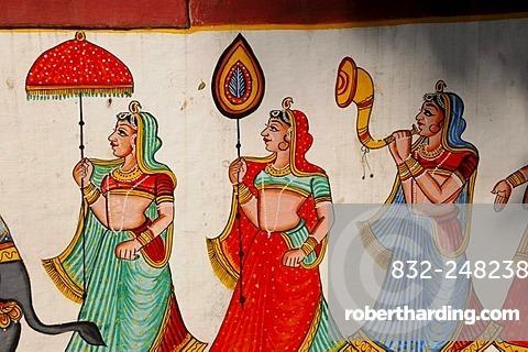 Mural painting, Garden of the Princesses, Saheliyon ki Bari, Udaipur, Rajasthan, North India, Asia