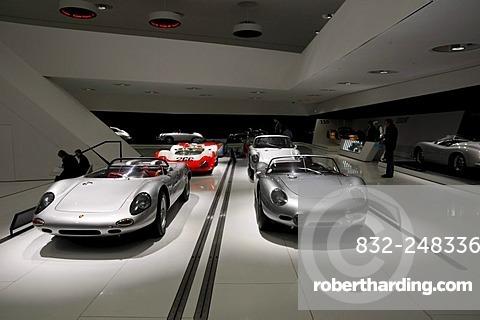 Interior view with Porsche sports cars, new Porsche Museum, Stuttgart, Baden-Wuerttemberg, Germany, Europe