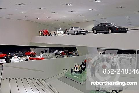 Interior, new Porsche Museum, Stuttgart, Baden-Wuerttemberg, Germany, Europe