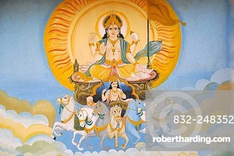 Mural painting at the Folklore Museum on Lake Garisar near Jaisalmer, Rajasthan, North India, Asia