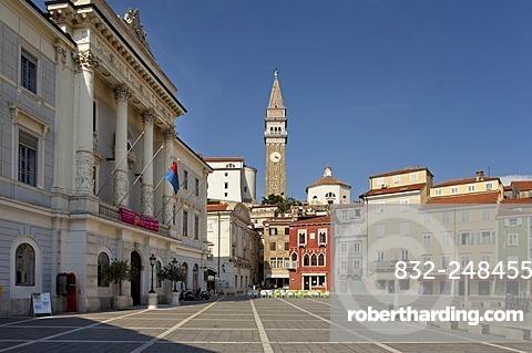 Tartini Square in Piran, Adriatic, Istria, Slovenia, Europe