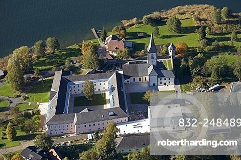 Stift Ossiach Abbey on Lake Ossiacher See, aerial photograph, Carinthia, Austria, Europe