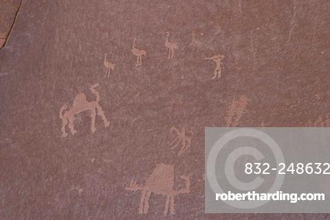 Rock paintings, carvings, Wadi Rum, Jordan, Southwest Asia