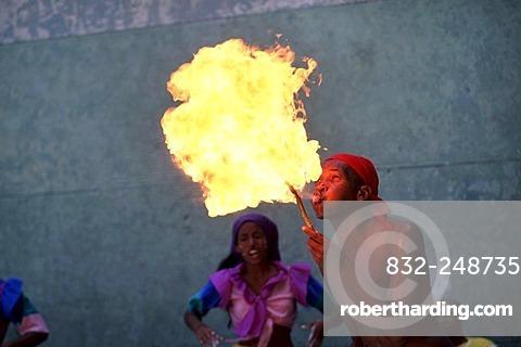 Fire breather, dancer, Afro-Cubans, Santeria, Havana, Cuba, Central America