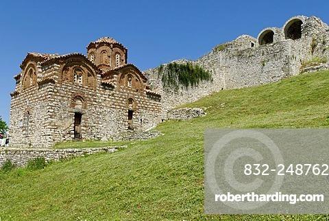 Historic orthodox church in Berat Fortress, UNESCO World Heritage Site, Albania, Europe