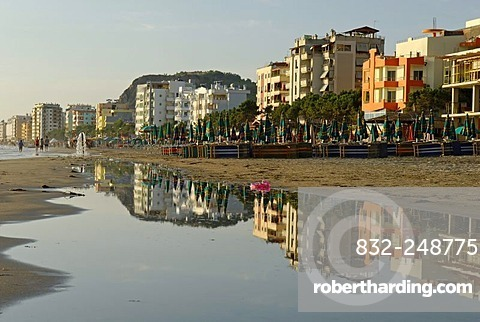 Hotels and restaurants on Durres beach, Albania, Europe
