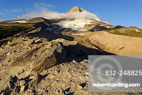 Eastern edge of Mount Hood volcano and Elliot Glacier, Cooper Spur Trail, Cascade Range, Oregon, USA