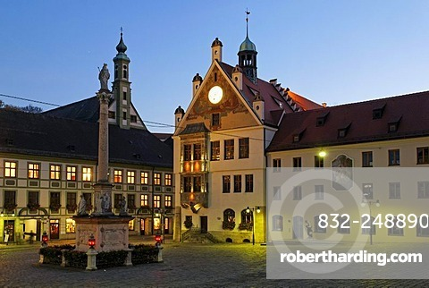 Marienplatz Square, historic city centre of Freising, Upper Bavaria, Germany, Europe