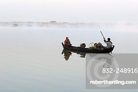Boat on the Irrawaddy or Ayeyarwady River, Bhamo, Myanmar, Burma, Asia