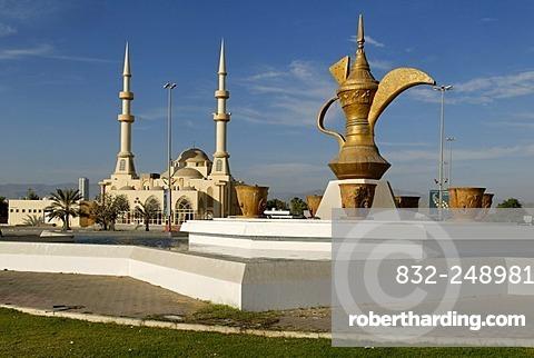 Fountain with oversized coffee pot, mosque, Emirate of Fujairah, United Arab Emirates, Arabia, Near East