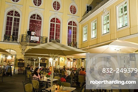 Cafe in the Coselpalais palace at night, Dresden, Saxony, Germany