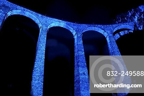 Irrigation water viaduct lit up to celebrate the acceptance of the