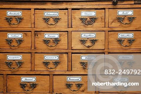 Historic pharmacist's cupboard for medicinal herbs, Germany