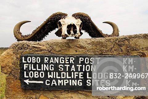 Signpost near the Lobo Wildlife Lodge, Serengeti National Park, Tanzania, Africa