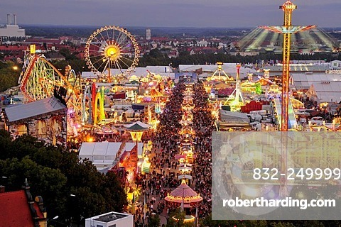 Evening view over the Oktoberfest from St. Paul's Church, Munich, Bavaria, Germany, Europe