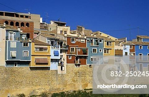 Colourful house facades, Villajoiosa, Costa Blanca, Spain, Europe