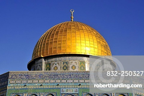 Golden dome of the Dome of the Rock, Qubbet es-Sakhra, on Temple Mount, Jerusalem, Israel, Western Asia, Orient
